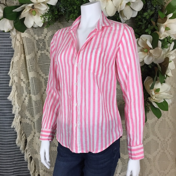 23a00032 Frank & Eileen Tops | Frank Eileen Pink Stripe Barry Button Down ...